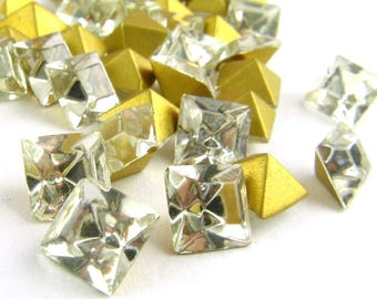 Vintage SQUARE 6mm Crystal GLASS Demi-Fin RHINESTONES Crystal Fire Polished Stones Point Back Jewelry Stones Parts 28pcs
