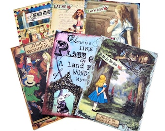 Note Cards Alice in Wonderland -White Rabbit-Tea Party-Mad Hatte -Drink Me- Cheshire Cat -Vintage Blank Note Card Retro Grunge Collection