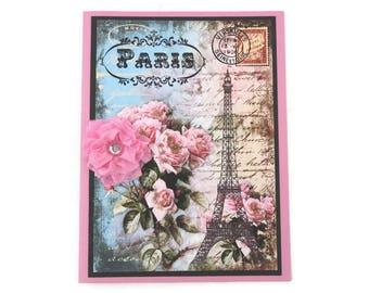 Paris Card- Eiffel Tower-Paris -Birthday-Thinking of You -French Tea Party-Bridal Shower- Rhinestone Ribbon Flower -Pink Roses