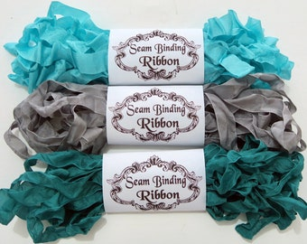 Seam Binding,Scrunched, Shabby Crinkled Ribbon, Turquoise,Silver,Rayon Ribbon, Doll Making,Crazy Quilting, Junk Journals, handmade Australia