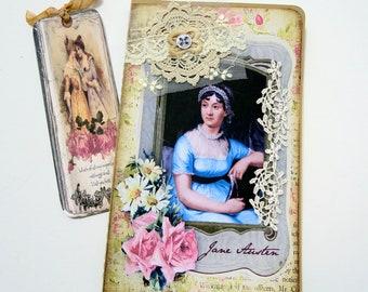 Jane Austen Note book- Pocketbook -Vintage Journal- Book Club-Birthday-Moleskine Cahier Altered -Handmade -Australia