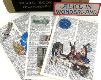 Alice in Wonderland-Vintage Dictionary Pages- We are all Mad here-Rabbit Hole-Alice Wall decor-Junk Journal Ephemera
