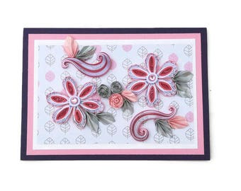 Paper Quilling Floral Art Card,Paper Quilled Pink Rhinestone Flowers,Birthday,Mom, Wife,Thinking of You,Sympathy,Silver Leaves