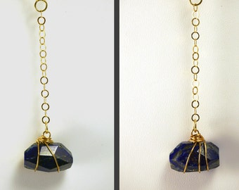 Blue Lapis Necklace | Wire Wrapped Lapis Necklace | Lapis Lazuli Necklace | Christmas Gift | Y Necklace | Gold necklace