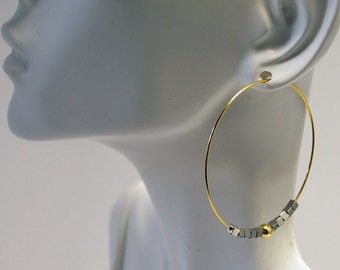 Gold Plated Hoop Earrings with Hematite and Gold Beads
