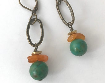 Turquoise Earrings | Turquoise and Amber Earrings | Boho Earrings | Drop Earrings | Dangle Earrings