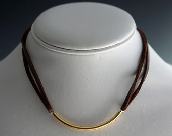 Choker with Gold Bar | Leather Choker with Gold | Leather Choker Necklace