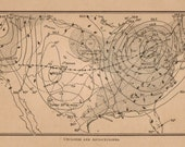 Vintage 1914 World Cyclone Map. In Black, Cream, Sepia, Tan. Aged, Rustic, Antique, Weather, Rain, Science, America. (No. 18)