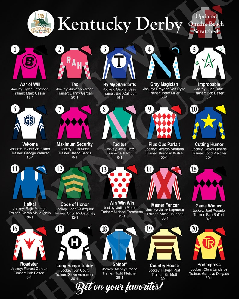 graphic relating to Printable Kentucky Derby Field titled Up to date 145th Kentucky Derby PRINTABLE LEADERBOARD with Silks, Posture and Possibilities ** 16\
