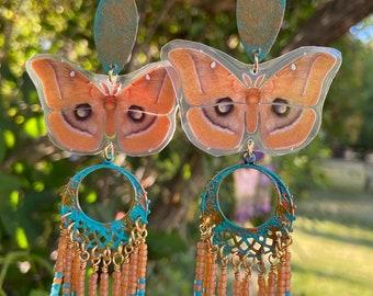 Moth Earrings - Butterfly Earrings - Glass Earrings - Orange Earrings