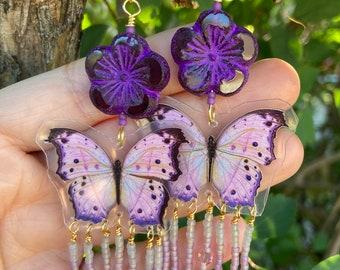 Butterfly Earrings - Glass Earrings - Butterflies Earrings - Purple Earrings - Flower Earrings