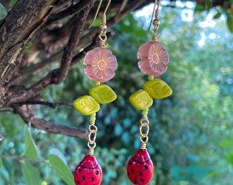Flower and Ladybug Earrings - Czech Glass Earrings - Flower Earrings - Ladybug Earrings