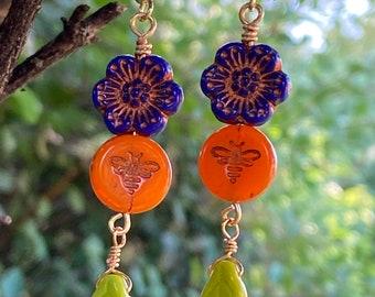 Flower Earrings - Czech Glass Earrings - Bee Earrings - Leaf Earrings