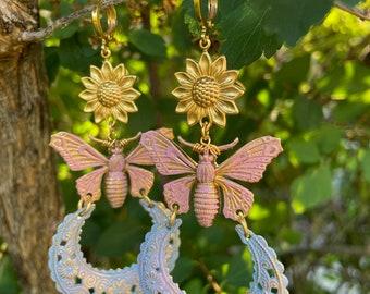 Butterfly Earrings - Butterflies Earrings - Pink Earrings - Flower Earrings - Brass Earrings