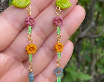 Flower Earrings - Glass Earrings - Dragonfly Earrings - Pink Flower Earrings - Yellow Flower Earrings