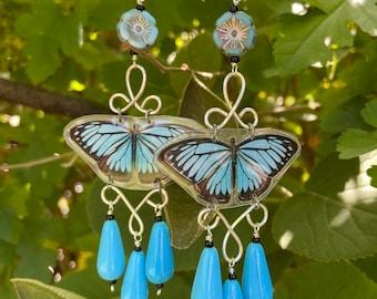 Blue Butterfly Earrings - Blue Earrings - Butterfly Earrings - Czech Glass Earrings - Flower Earrings