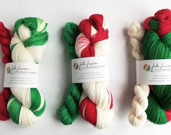 self striping sock yarn hand dyed christmas yarn dyed to order 7525 superwash woolnylon sockfingering4 ply red green white wool