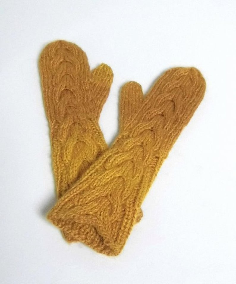Made to order hand knitted long cabled mittens women's image 0