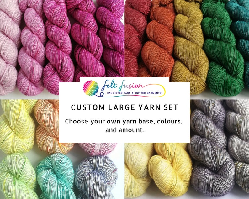 Hand dyed large yarn set pre-order choose colours and base image 0
