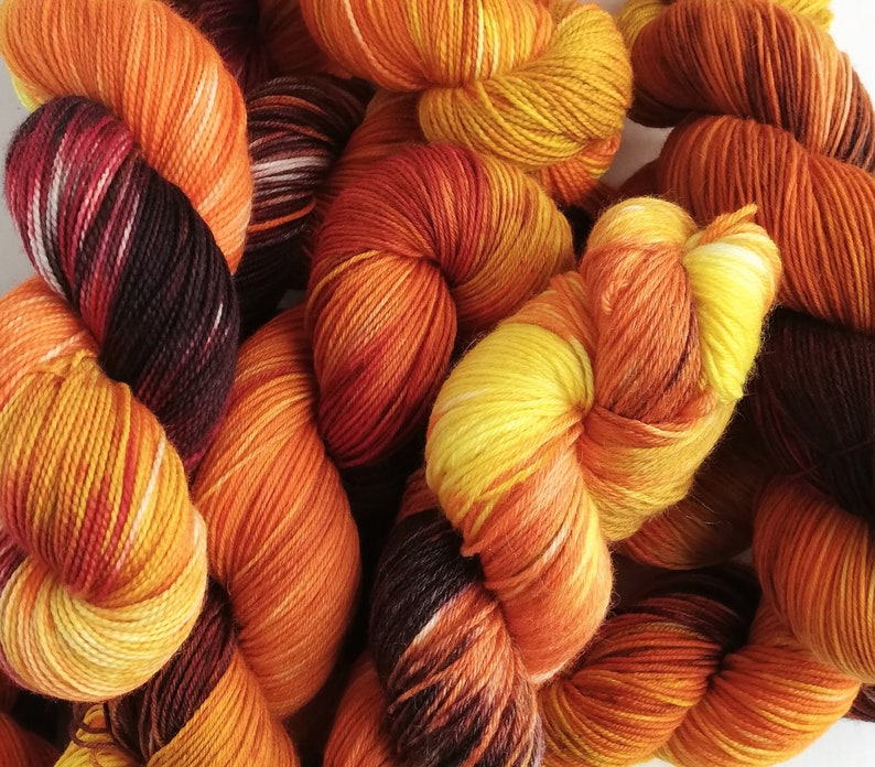 Hand dyed yarn pre-order.  Variegated autumnal yarn dyed to image 0