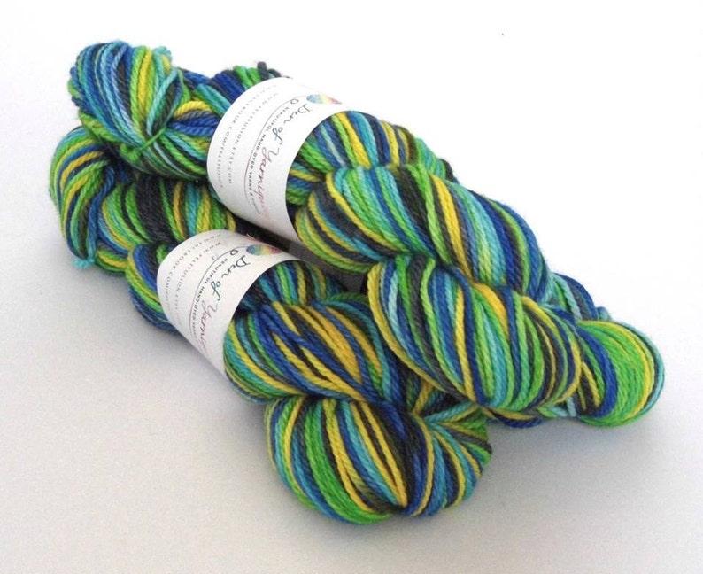 Hand dyed variegated wool superwash merino aran weight yarn. image 0