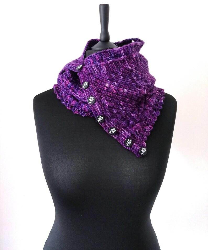 Purple hand knit cashmerino wool scarf button fastening image 0