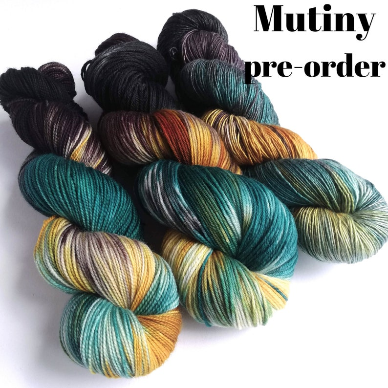 Hand dyed yarn pre-order.  Mutiny colourway. Variegated wool image 0