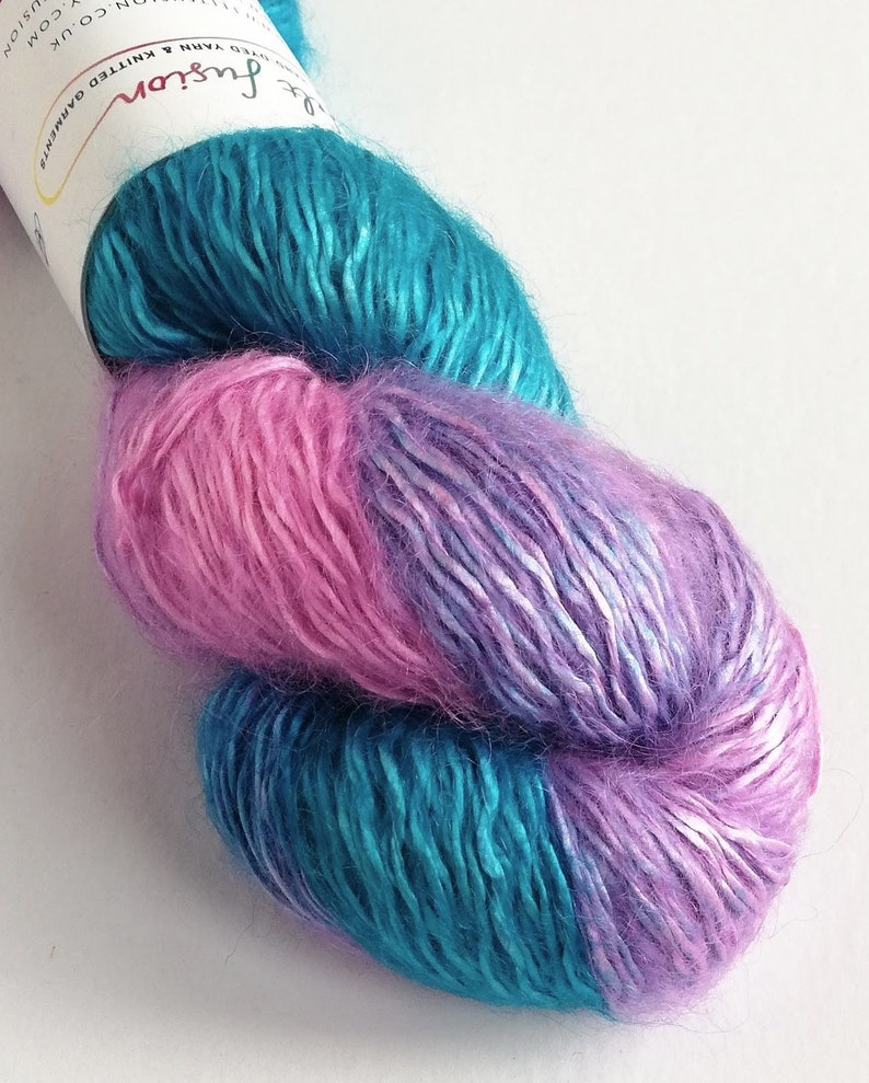 Hand dyed pink and turquoise variegated yarn kidsilk image 0