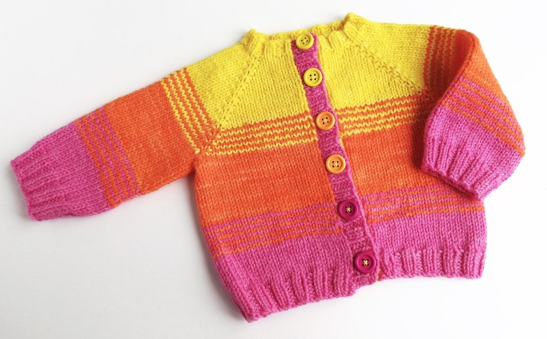 Child's hand knitted wool cardigan. Boys or girls button image 0