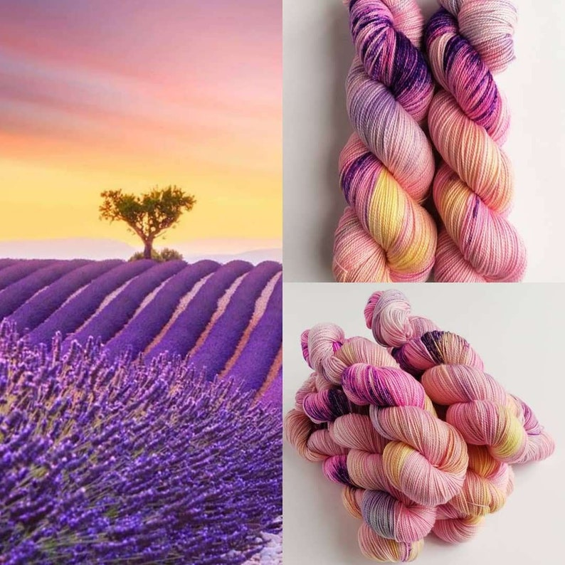 Hand dyed yarn pre-order.  Dream Fields colourway. Variegated image 0