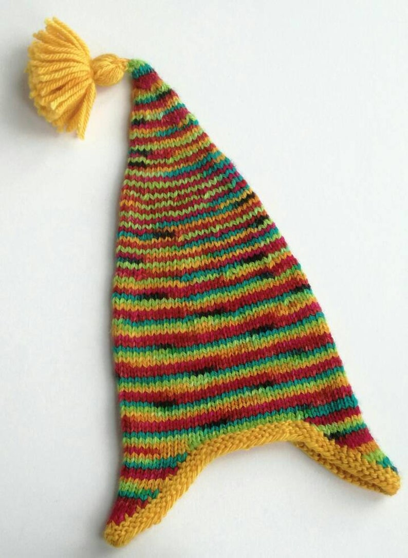 Hand knit baby's wool earflap hat red yellow blue image 0