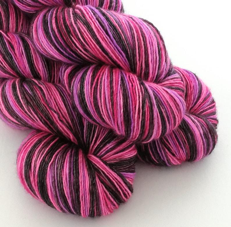 Hand dyed variegated yarn  single ply merino/silk 4ply wool. image 0