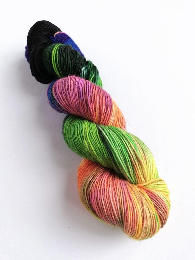 Hand dyed singles superwash merino 4ply wool yarn variegated image 0