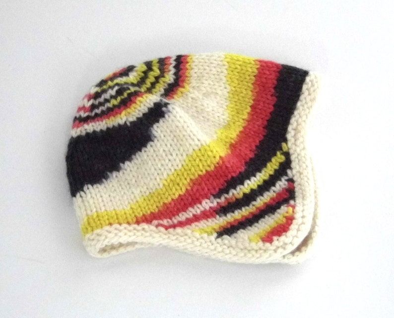 Hand knit baby's earflap hat red yellow black image 0