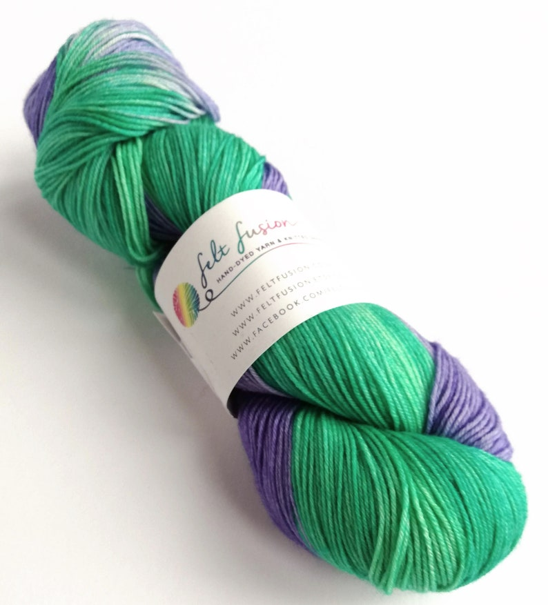 Self Striping sock yarn hand dyed 75/25% superwash image 0