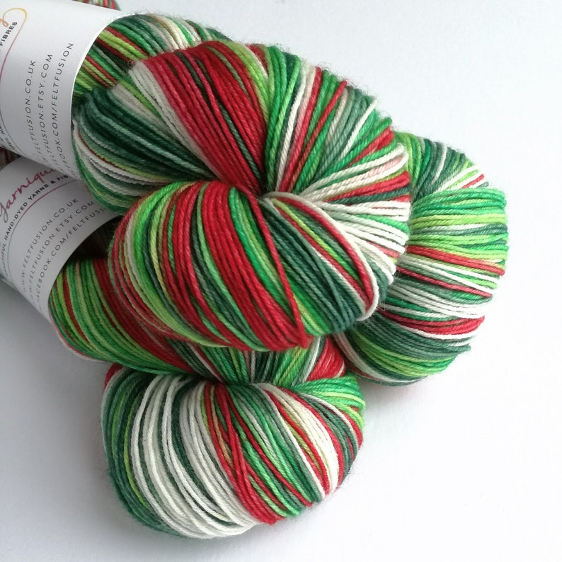Hand dyed yarn pre-order.  Holly Jolly Christmas colourway image 0