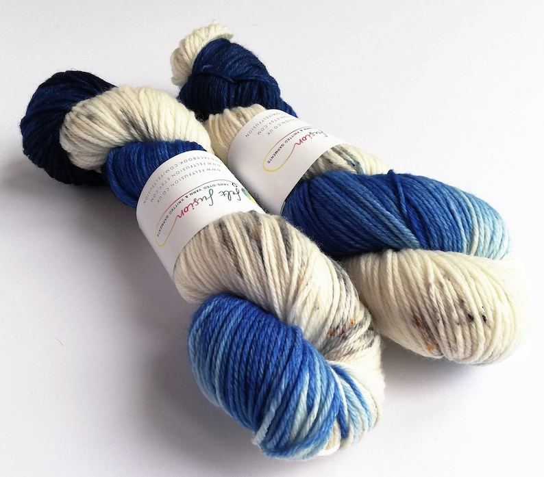 Hand dyed superwash merino dk wool yarn variegated double image 0