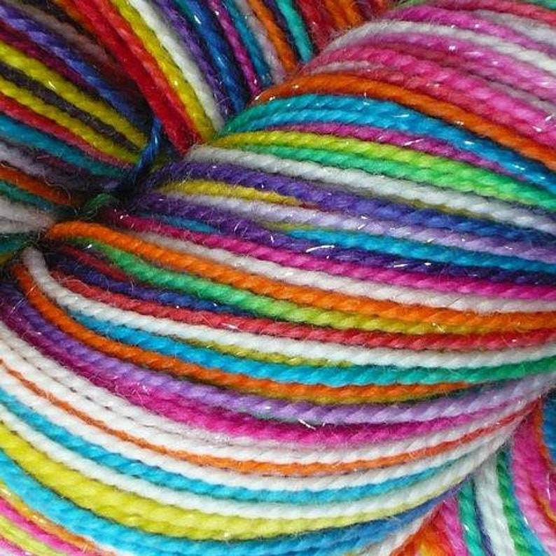 Hand dyed yarn pre-order.  Variegated rainbow yarn dyed to image 0