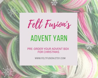 Advent Calendar yarn club, 12 days of Christmas yarn club. Yarn pre-order, sock yarn, DK yarn, Gift for a yarn lover, Advent closes Oct 31st