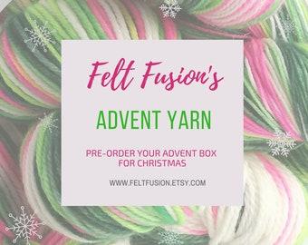 Yarn Advent Calendar, 12 days of Christmas yarn box, Christmas mini skein pre-order, hand dyed yarn-vent calendar, gift for knitters