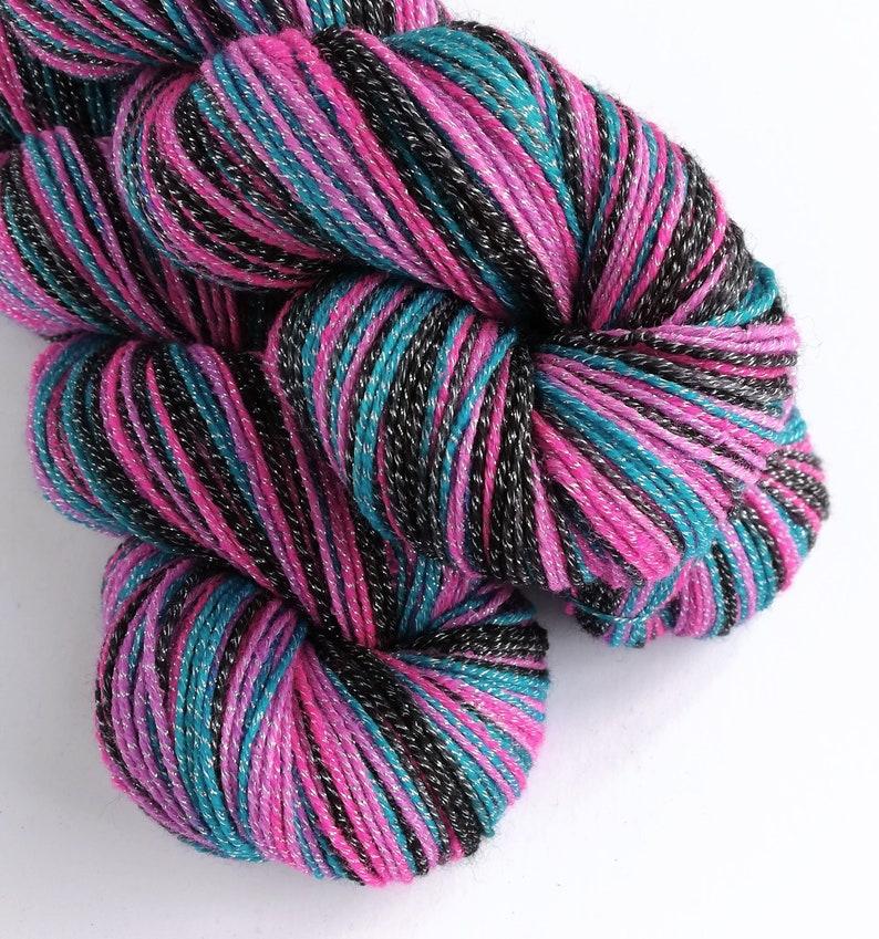 Hand dyed yarn 100g of silver sparkle sock yarn superwash image 0
