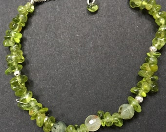 "Facateted~round~Prenhite~Peridot~bracelet~925 silver~Crystal Healing extender chain~925 spacers~8.5""~August Birthstone~Green~Wedding~Races~"