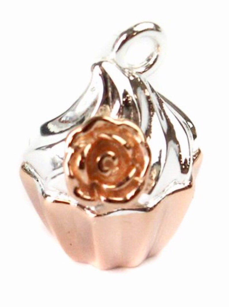 Pendant Cup Cake Rose Gold 925 Silver Cupcake Charm Necklace Bracelet baker cakes 2.65 grm 14 x 11 pendant bakers girlfriend gift rose gold