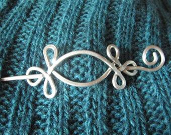 Celtic Open Eye, Shawl Pin, Scarf Pin, Sweater Clip, Silver Pin, Screw, Sweater Brooch, Shrug Fastener, Women, Knitting Accessories