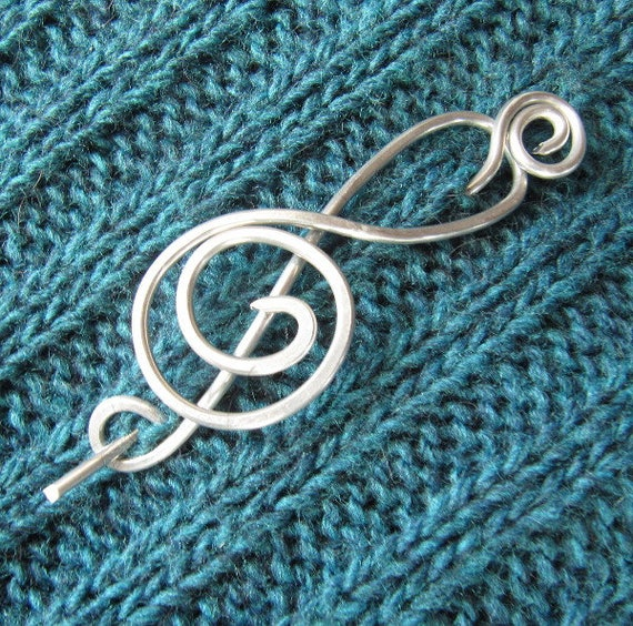 Knit or Crocheted Scarf Pin Sweater Brooch Treble Clef Aluminum Shawl Pin Musician Knitters Gift