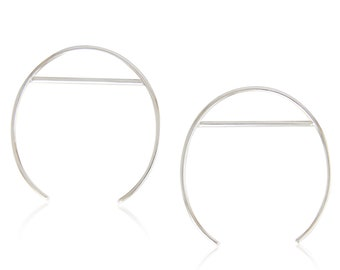 Silver Statement Earrings, Large Open Oval Sterling Silver Hoops, Geometric Hoops, Gift For Her, Minimalist Silver Oval & Line Hoops