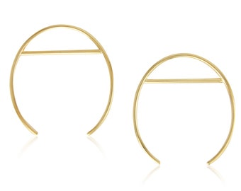 Gold Statement Earrings, Large Open Oval Gold Plated Brass Hoops, Geometric Hoops, Gift For Her, Minimalist Gold Plated Oval & Line Hoops