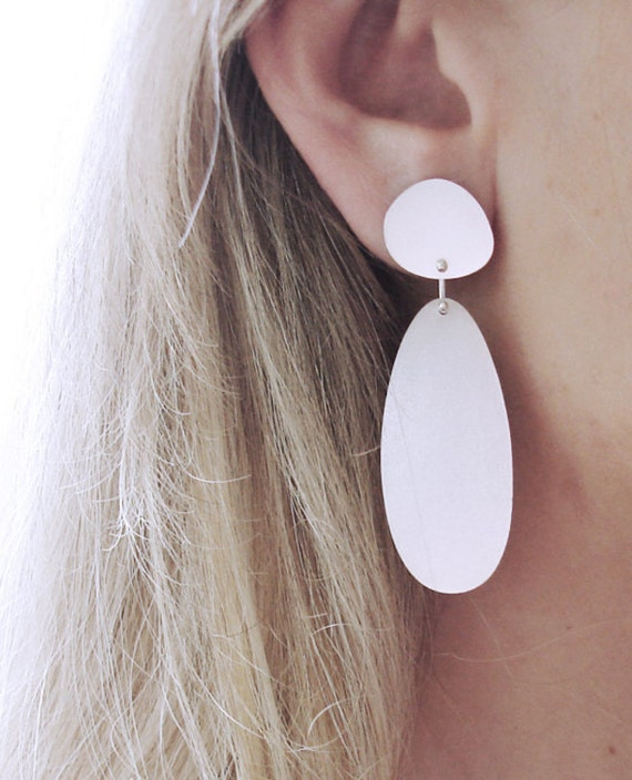 unique organic minimalist handmade gift for women Sterling silver concave disc and pebble earrings
