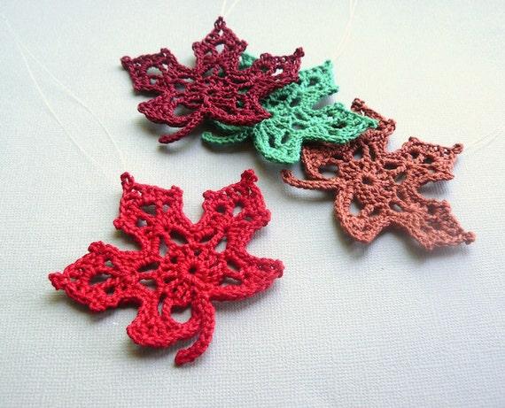 4 Crochet Maple Leaf Ornaments Multicolored Autumn Leaves Etsy