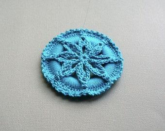 Crochet Ornament -- Peacock Blue Star Flower Medallion